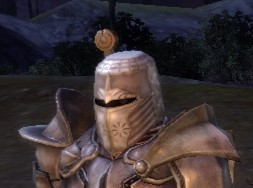 Alistair, looking fetching in his Templar helm